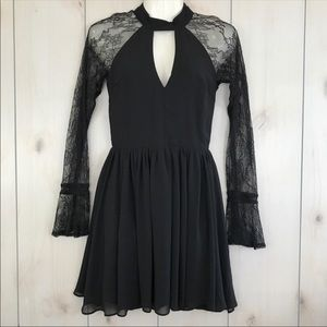 Black High Neck Chiffon Dress With Lace Sleeves